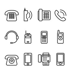 Telephone smart phone fax icon set in thin line vector