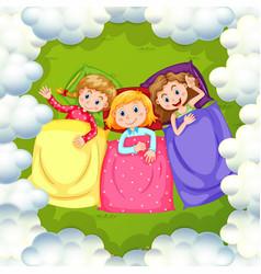 Three girls sleeping on grass vector