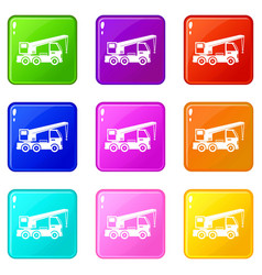 Truck mounted crane icons 9 set vector
