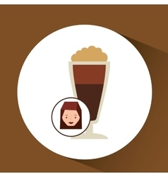 Woman cute cup coffee fresh graphic vector