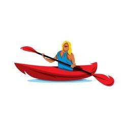 Woman in canoe Kayaking Cartoon vector image