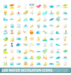100 water recreation icons set cartoon style vector