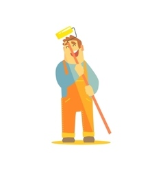 Builder with painting roll on construction site vector