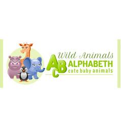 Alphabet infographics wild cute animals abs logo vector