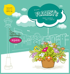 Enjoy florist flower and sketching building vector