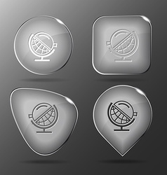 Globe and loupe glass buttons vector