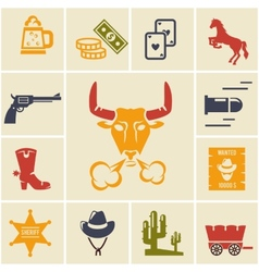 Assortment of wild west icons vector