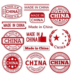 Set of various made in china red graphics vector