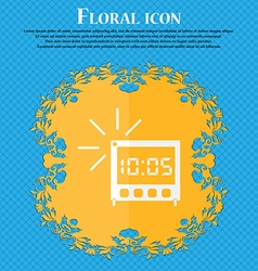 Digital alarm clock icon sign floral flat design vector