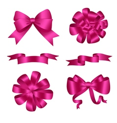 Bows and ribbons pink set vector