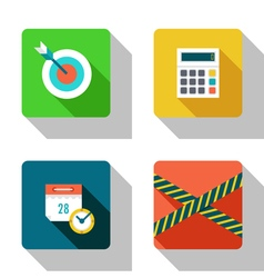 Schedule and success flat icons vector