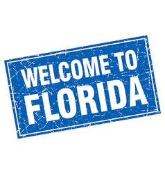 Florida blue square grunge welcome to stamp vector