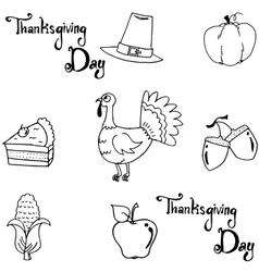 Element thanksgiving doodle art vector