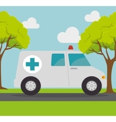 Ambulance transport emergency landscape background vector