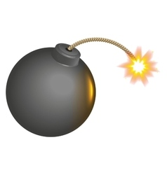 Black round bomb with burning wick vector
