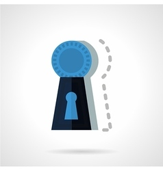 Blue keyhole flat icon vector