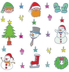 Christmas set element of doodle vector image