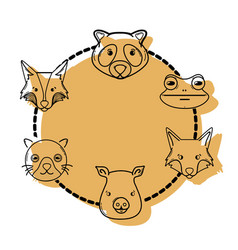 color set cute heads wilds animals design vector image