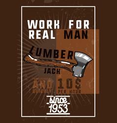 Color vintage lumberjack banner vector