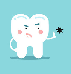 cute cartoon healthy opposing tooth decay dental vector image