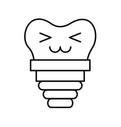 Dental implant kawaii character vector