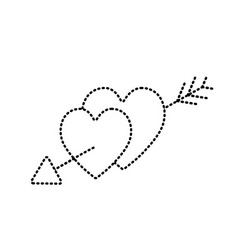 dotted shape hearts with arrow to symbolic of vector image vector image