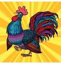 Farm bird beautiful cock vector