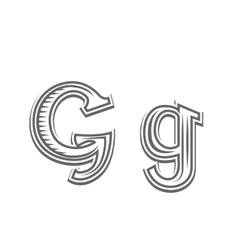 Font tattoo engraving letter g vector