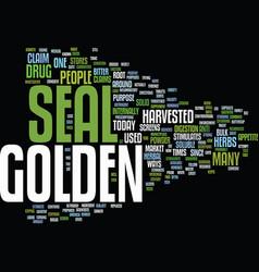 Golden seal text background word cloud concept vector