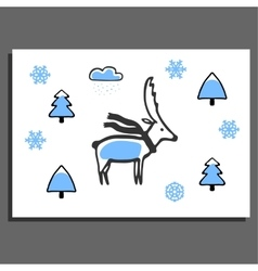 Greeting card with deer in scarf vector
