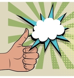 Hand sign thumbs up pop art color back vector