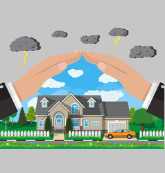 House and car insurance concept vector