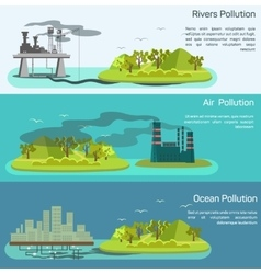 Landscape with air ocean pollution vector