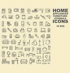 linear icons of furniture appliances and vector image vector image