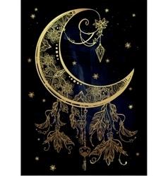 Ornate crescent moon vector