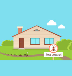 Pest control concept with cockroach leaving house vector