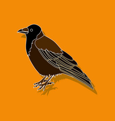 raven paper sticker on stylish background vector image