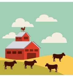 Red barn over farm landscape vector