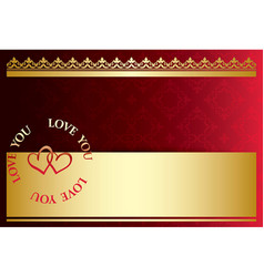 Red gold romantic card with hearts - love you vector