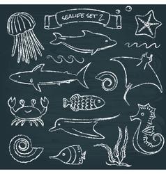 Sealife chalkboard set 2 vector image