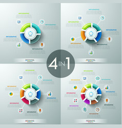set of 4 circular infographic design templates vector image vector image