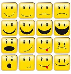 set of yellow smileys vector image vector image