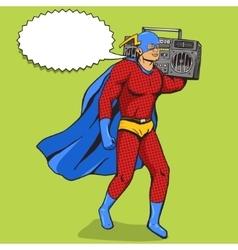 Superhero with radio cassette player vector