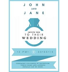 Wedding invitation blue ring theme vector