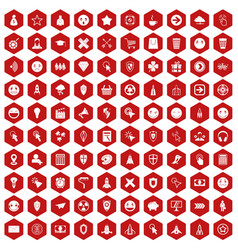 100 interface pictogram icons hexagon red vector