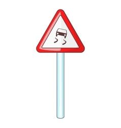 Slippery when wet road sign icon cartoon style vector