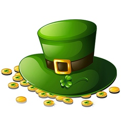 A green hat and coins for st patricks day vector