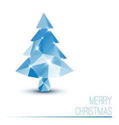 Card with abstract blue christmas tree vector