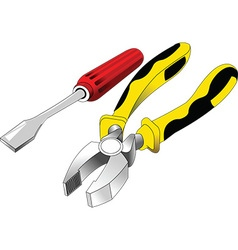 Screwdriver and pliers vector