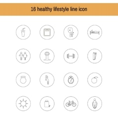 A set of liner icons isolated healthy lifestyle vector
